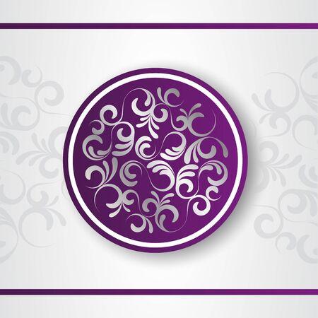 Luxury decorative vector logo template. Purple emblem with silver floral decor. Decorative background. Floral mandala.
