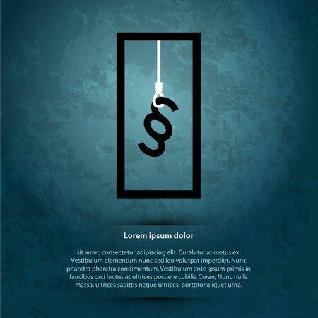 Illustration of death penalty or suicide. Hanging paragraph. Dark destroyed background. Lorem Ipsum.