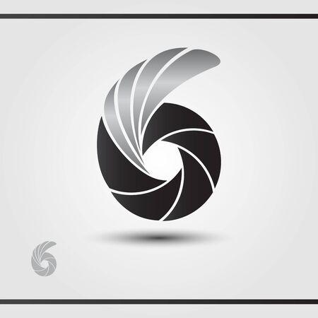 Photographer Studio Logo Design. Vector logo template. Black lamella with silver wing. Camera focus. Watermark  イラスト・ベクター素材