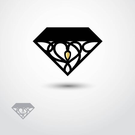 Abstract vector logo design of diamond with gold element on white backround. Black and glod color. Watermark. Logo for jawelry. Illusztráció