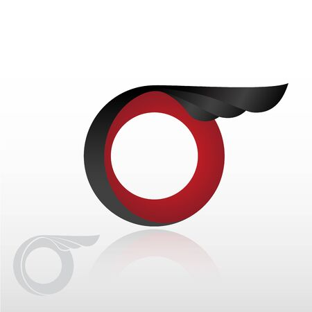 abstract wheel with wing. Vector logo design with dynamic red and black colour combination on white background. Speed or freedom. Watermark Stock Illustratie