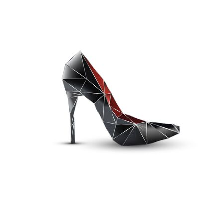 Geometric crystal shoe. Fashion isolated black and red female shoe on a high heel. Vector design