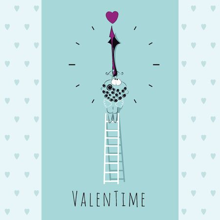 Cute little cupid stays on the ladder and aims the arrow on the heart. It's Valentine's time. ValenTime. Greeting Valentines card with hearts. Blue color. Vector card template.