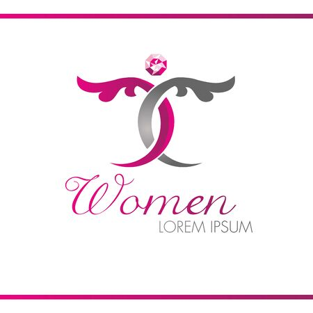 Abstract female floral logo vector design template. Decorative leaves with diamond. Woman with wings silhouette with diamond. 3d effect.