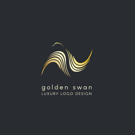 Luxury logo design of Golden Swan with distended wings. Stylizated logo. Vector design template.
