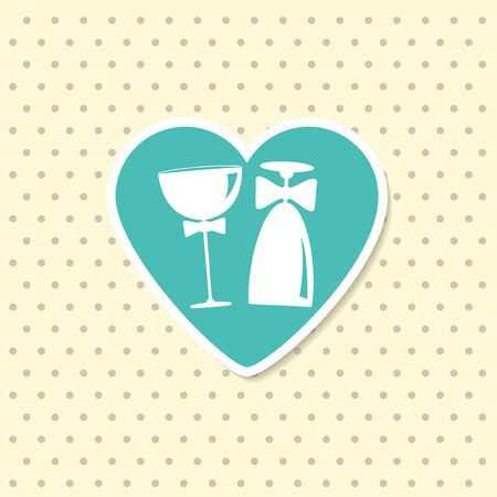 Two wine glasses as groom and bride in heart. Wedding Invitation card. Vector Illustration.