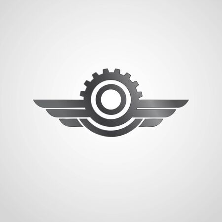 Engineering logo with gear wheel and wings. Logo design template. Silver color