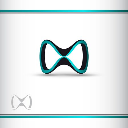 Abstract blue and black 3d infinity symbol. 3d glasses. Conceptual icon. Logo template. Vector illustration. Watermar. Çizim