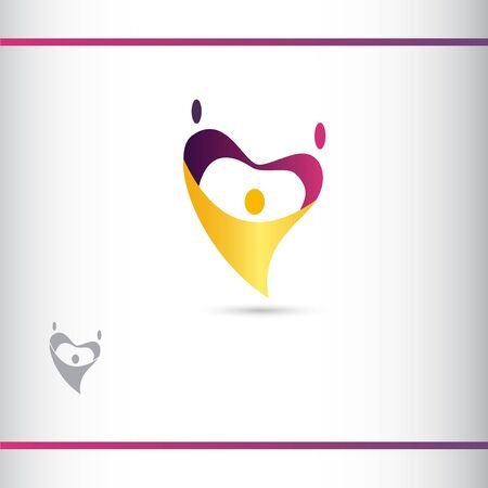 The figures in the shape of a heart. The human stylized silhouettes.Vector logo design template.