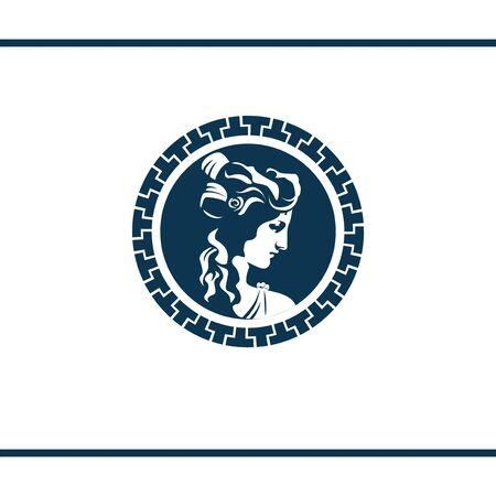Griechische Göttin im antiken Zierrahmen. Portrait im Kreisrahmen. Vektor-Logo-Design-Vorlage. Antike Münze.