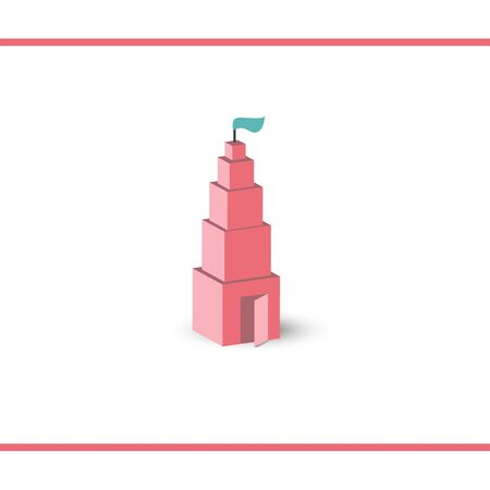Illustration of Montessori pink tower like a castle with a flag and open door. Vector logo design template. Иллюстрация
