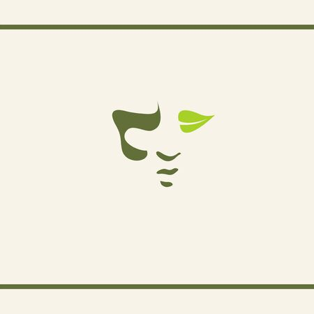 Silhouette Human unisex face. a Leaf like an eye. Shadow on face. Green colour Natural herbal cosmetics. Logo design template. Foto de archivo - 133534414