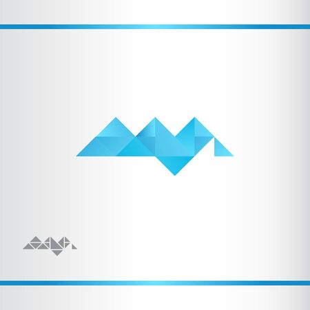 Blue geometric abstract mountains. Vector logo design template. Watermark version.