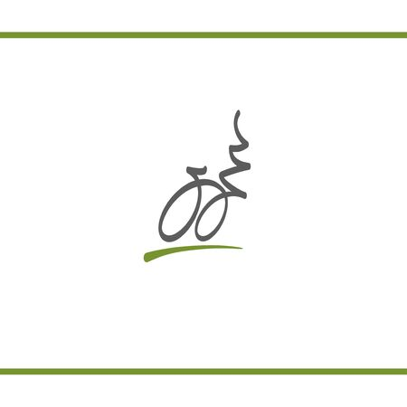 Stylizated logo of bicycle and nature. Dynamic logo of cycle route. Green and grey color. Logo design template.