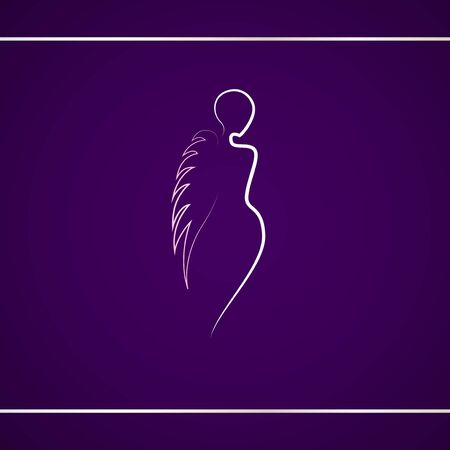 Silhouette of woman with angel wing. Logo design template