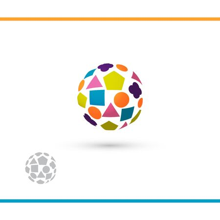 Colorful globe with shapes. Logo for school, kindergarden or toys. Watermark vesion. Vector logo design template Illustration