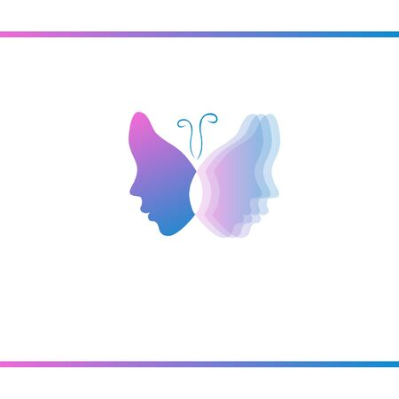 Butterfly with womens faces. Moving wing. Optical effect. Vector logo design template Reklamní fotografie - 133534521