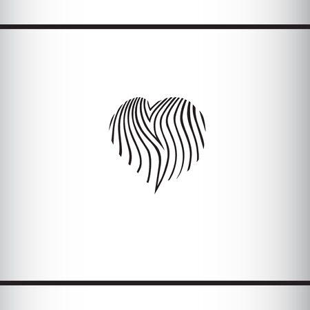 Heart shape with zebras striped fur pattern. I love zebra. I love safari. Fashion logo concept. Logo design template 일러스트