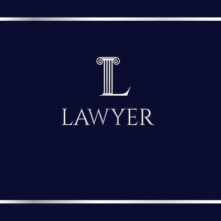 Logotype for court or law firm. Letter L. Silver logo on a dark blue background. L like an antique column. Logo design template.