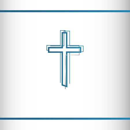 Modern christian cross. Abstract line christian cross. Vector illustration. Blue and silver color. Logo design template