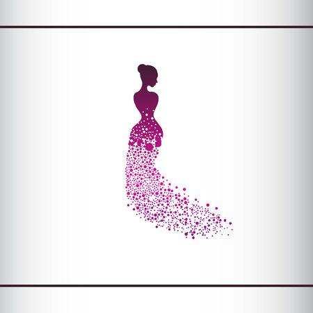 Beautiful woman silhouette. Vector illustration of dot work woman beauty salon design. Beautiful Bride. Logo design template.