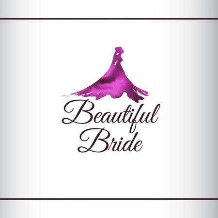 Beautiful Bride silhouette with watercolor texture. Wedding watercolor art with beautiful bride. Pink, purlpe color. Logo design template.