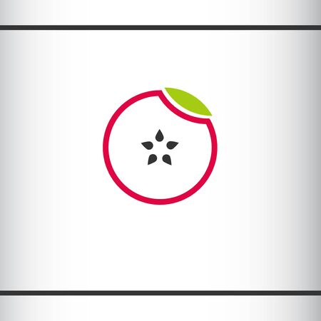 Apple and Healthy Fruit design with modern style, vector illustration. Circle with leaf and apple cored star. Logo design template.