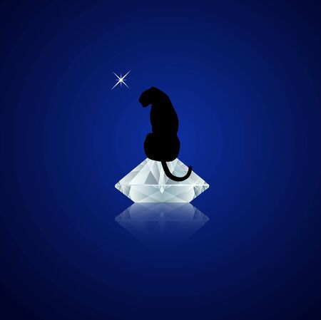 black panther sitting on top of the shiny diamond at night. Vector illustration. Luxus and wildlife