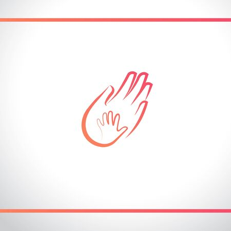 Hands baby and adult. Mother and child. Father and baby. Parent and kid. Maternity, parenting or help for children. Logo design template.