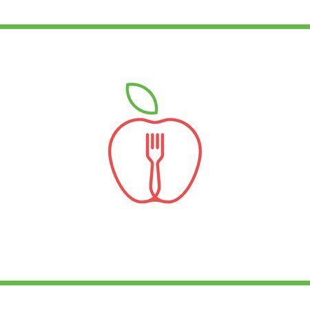 Lineart Apple with fork and leafe. Abstract food logo icon vector design. Recipe, cooking, course, restaurant, vegan food vector logo. Editable Design. Apple with leaf and fork logo