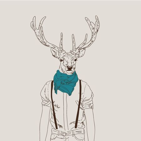 Illustration of hipster deer dressed up in shirt with a turquoise scarf. furry art illustration, fashion animals, hipster animals, anthropomorphism. Vector illustration.