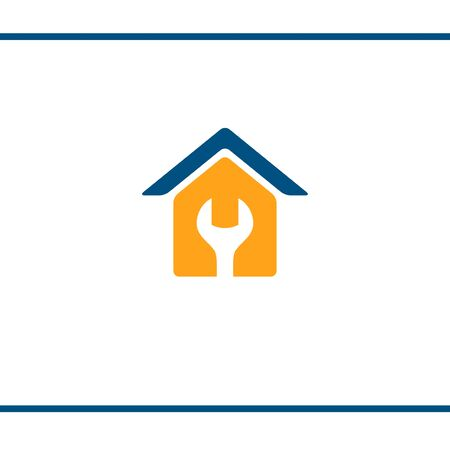 House Repair. Logo design. Vector Template. House silhouette with a wrench in negative space. Yellow and blue color.