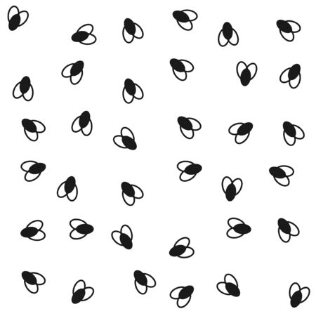 Flies pattern. Black and white. Small bugs tile pattern. Vector illustration