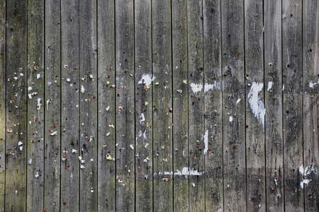 Texture of brown weathered wooden wall with pins. Old bulletin board with pins and staples.