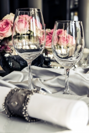 Glasses very nicely decorated table photo