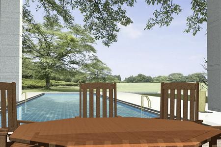 Modern living room with furniture 3D Rendering Иллюстрация