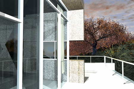 Residential apartment building on sunny day with blue sky 3D rendering