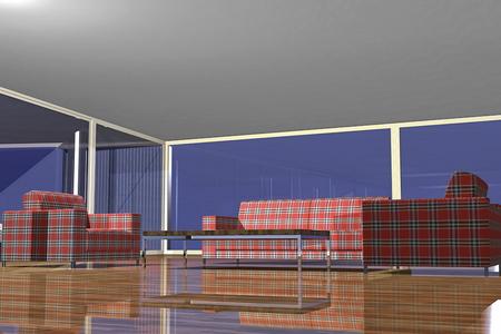 ソファーと家具のモダンなリビング ルーム 3 D レンダリング  イラスト・ベクター素材