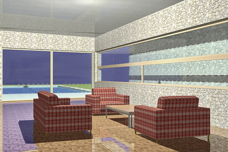 back yard: Modern living room with sofa and furniture 3D Rendering Illustration