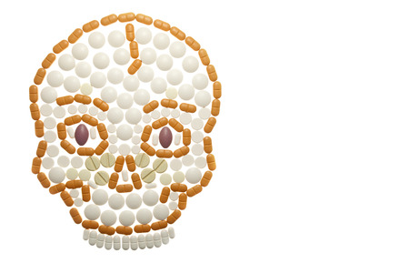 skull composed of colored pills - Photo taken 10. November 2014 Stock Photo