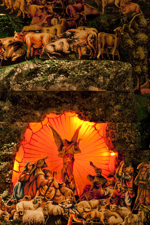 x mass: Nativity scene with hand-made figures made out of wood and paper. Photo taken 30.11.2014 Stock Photo