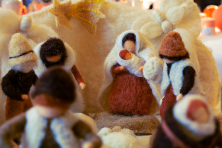 Nativity scene with hand-made figures made out of wool. Photo taken 30.11.2014