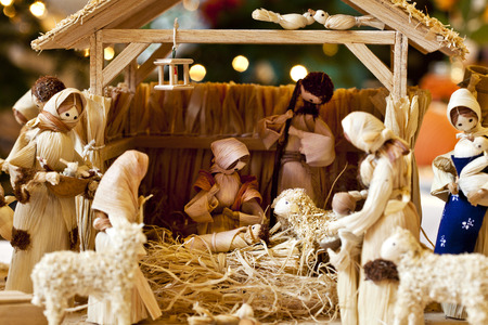 Nativity scene with hand-made figures made out of hayl and corn leaves. Photo taken 30.11.2014 Stock Photo