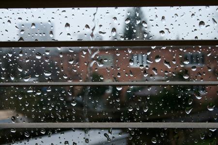 Rain drops on a window , Czech republic, Prague 14.10.2013 Stock Photo