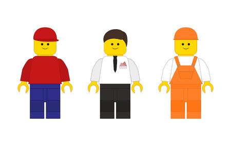 El conjunto de sirve de Lego en el estilo plano para su creatividad Vectores