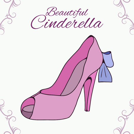 cinderella shoes: Greeting card with doodle pink shoes, swirls and a place for text