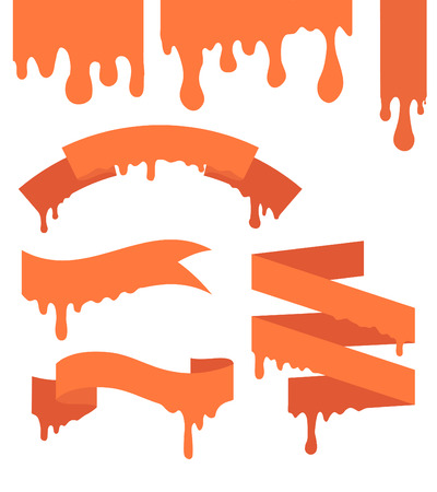 hosszú expozíció: Set of vector ribbons with streaks of paint for your business Illusztráció