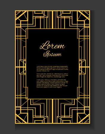 Template invitation style gatsby with gold pattern and place invitation in the style gatsby vector card with place for your text stopboris Image collections