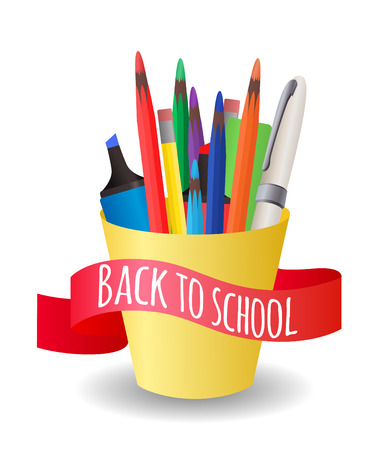 colored pencil: Vector Cover with a cup  with colorful pencils, pens, markers on the topic back to school Illustration