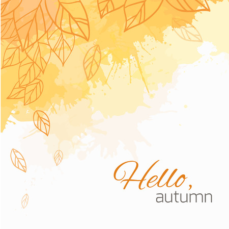 fall beauty: Autumn vector cover  with doodle leaves and yellow and orange blobs for your business